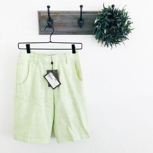 NWT St. John Sport Green Linen Shorts 2
